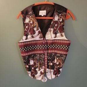 Vintage Christmas cross- stitch vest